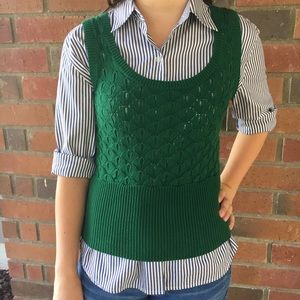 Anthropologie Tabitha Kelly Green Sweater Vest